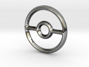Pokeball (Open) Charm - 11mm in Fine Detail Polished Silver