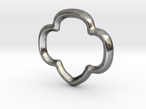 Trefoil Charm - 11mm in Fine Detail Polished Silver