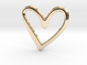 Open Heart Pendant - 27mm in 14K Gold