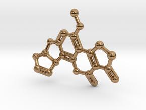 Aflatoxin B1 Molecule Necklace in Polished Brass
