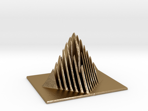 Miniature Pyramid Sculpture in Polished Gold Steel