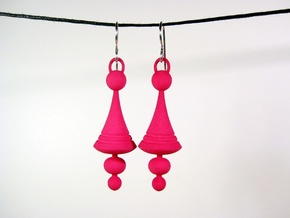 Luna Earrings - Space Age Earrings in Pink Processed Versatile Plastic