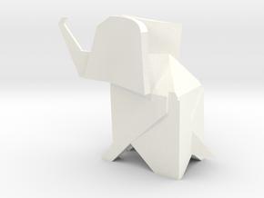 Origami Elephant in White Processed Versatile Plastic