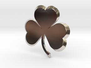 Customizable Shamrock Pendant in Rhodium Plated Brass