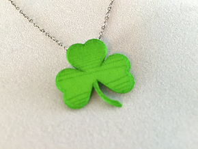 Customizable Shamrock Pendant in Green Strong & Flexible Polished