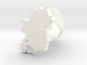 Cork Cufflink in White Processed Versatile Plastic