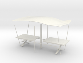 Medieval Table with awning in White Strong & Flexible