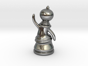 Waving Pawn in Polished Silver