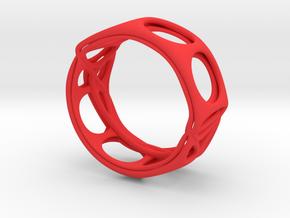 Voronoi Alphabet Bracelet (002) in Red Processed Versatile Plastic