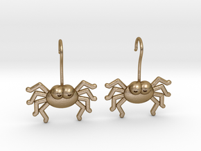 Cute Spider Earrings in Polished Gold Steel