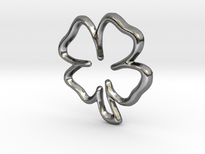 Lucky Clover Pendant/Charm - 16mm in Fine Detail Polished Silver