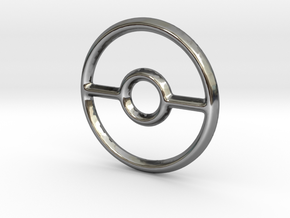 Pokeball (Open) Pendant/Charm - 16mm in Fine Detail Polished Silver