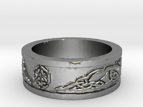 Norse Shield Ring Size 12.5 in Natural Silver