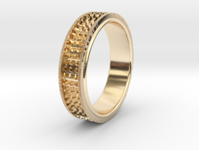 Ø0.666 inch/Ø16.92 Mm Detailed Ring in 14k Gold Plated Brass