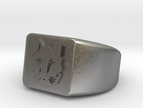 Geometric Wolf Ring in Natural Silver