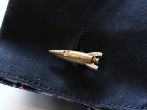Retro Rocket Cufflinks in Polished Bronzed Silver Steel