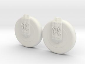Pair of Boot Disks in White Natural Versatile Plastic
