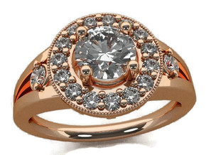 Split Halo Engagement Ring in 14k Rose Gold Plated Brass