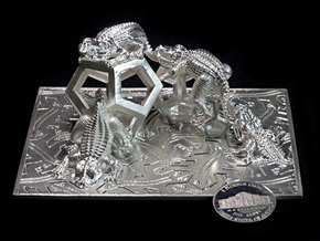 Reptiles & Dodecahedra mini sculpture Fine Art. in Raw Silver
