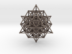 64 Tetrahedron Grid Large Vector Equilibrium in Polished Bronzed Silver Steel