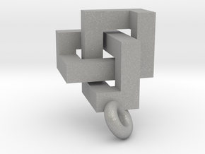 Cubic Trefoil Knot Pendant in Aluminum