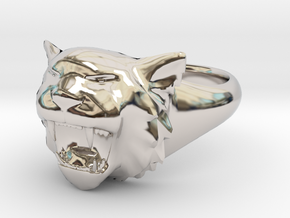 Awesome Tiger Ring Size 6 in Rhodium Plated Brass