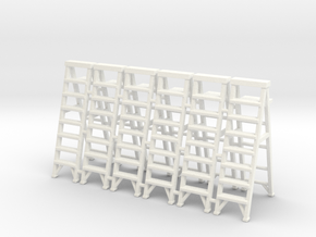 Stepladder 02. 1:64 scale in White Processed Versatile Plastic