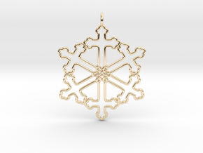 Snowflake Cross Version 2 in 14k Gold Plated Brass