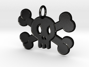 Cute Skull With Bones Pendant Charm in Matte Black Steel