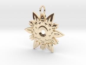 Elegant Chic Flower Pendant Charm in 14K Yellow Gold