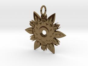 Elegant Chic Flower Pendant Charm in Polished Bronze