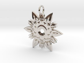 Elegant Chic Flower Pendant Charm in Rhodium Plated Brass