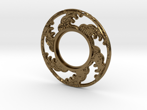 MHS compatible Tsunami Tsuba in Polished Bronze