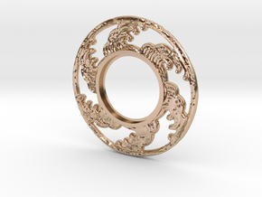 MHS compatible Tsunami Tsuba in 14k Rose Gold Plated Brass