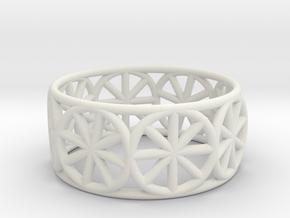 Dharma Wheel Ring in White Natural Versatile Plastic