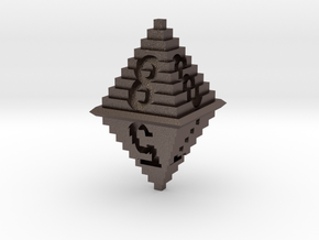 d8 Pixel Pyramid in Polished Bronzed Silver Steel