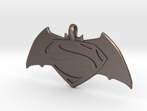 Batman vs Superman Emblem - Reversible Pendant Key in Polished Bronzed Silver Steel