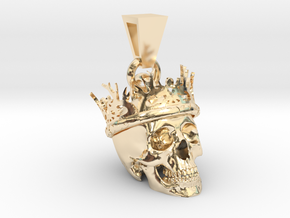 SKULL CROWN PENDANT in 14K Yellow Gold