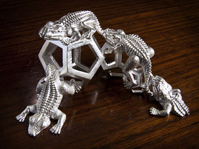 Reptiles & Dodecahedra mini sculpture Fine Art top in Natural Silver
