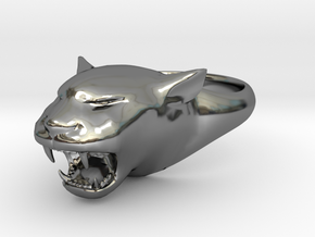 Cougar-Puma Ring , Mountain lion Ring Size 11 in Fine Detail Polished Silver