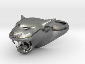 Cougar-Puma Ring , Mountain lion Ring Size 10 in Fine Detail Polished Silver