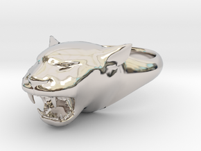 Cougar-Puma Ring , Mountain lion Ring Size 10 in Rhodium Plated Brass