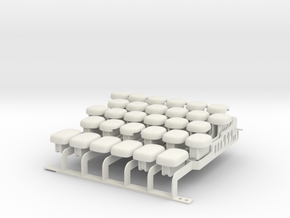 Drop-on Jankó Piano Adaptor - Whole Octave Set  in White Natural Versatile Plastic