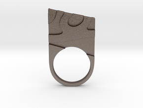 Solid geometry ring in Polished Bronzed Silver Steel