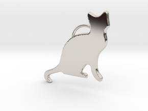 Cat Sitting in Rhodium Plated Brass