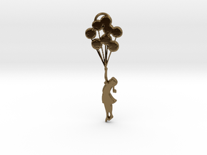 Banksy Girl with Balloons in Polished Bronze