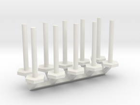 Tube Stanchion Barricade 1-87 HO Scale in White Natural Versatile Plastic