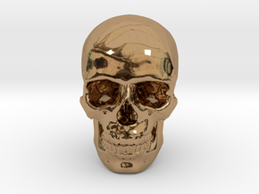 33mm 1.3in Human Skull (23mm/.9in wide) in Polished Brass