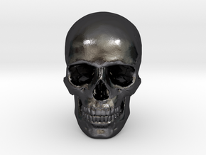33mm 1.3in Human Skull (23mm/.9in wide) in Polished Grey Steel