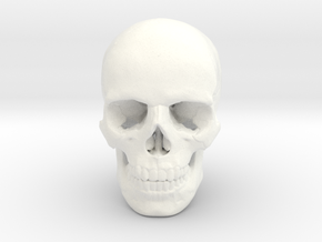 33mm 1.3in Human Skull (23mm/.9in wide) in White Processed Versatile Plastic